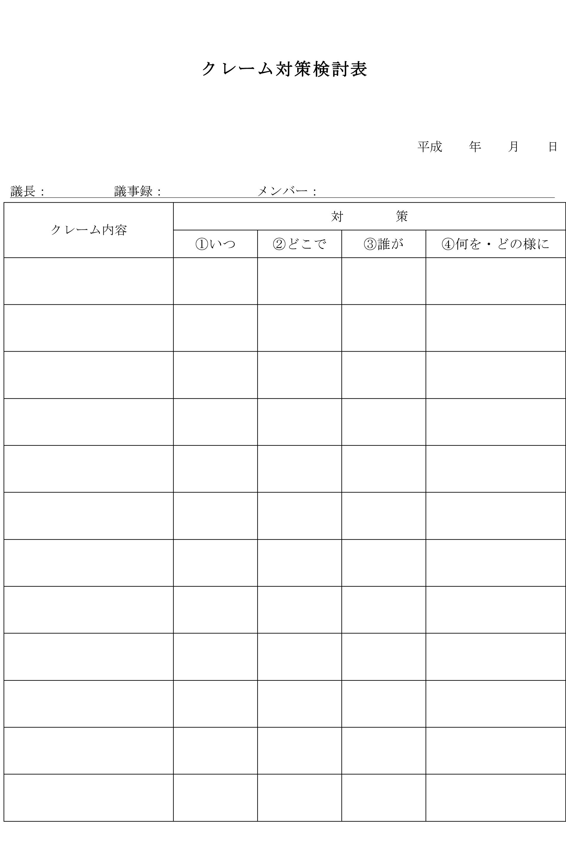 クレーム対策検討表