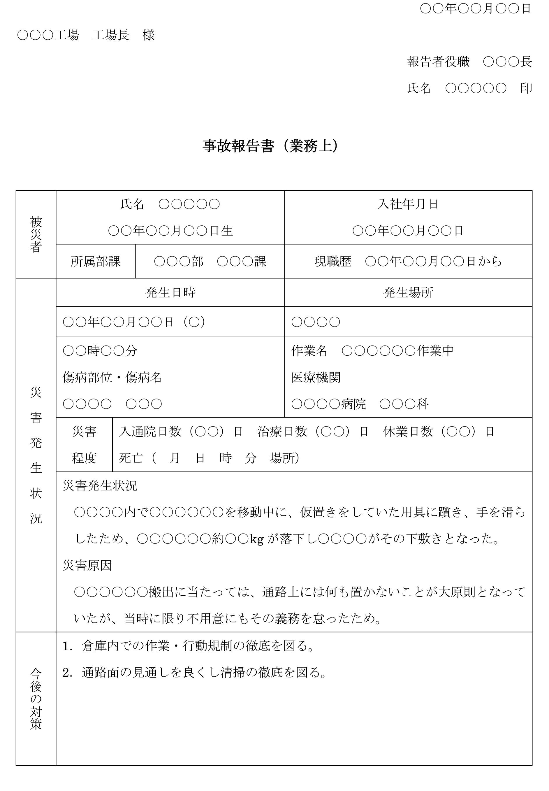 事故報告書(業務上)