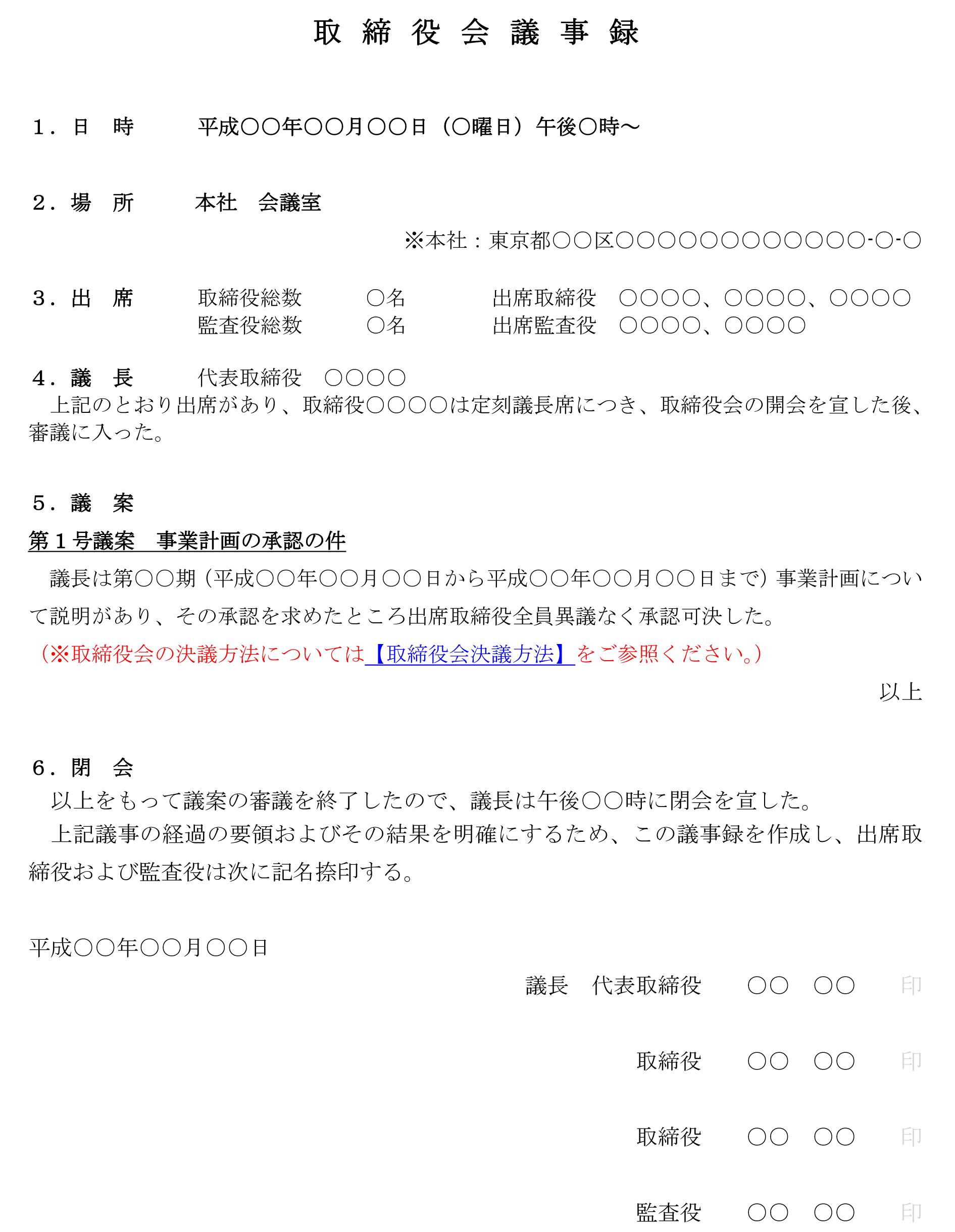 取締役会議事録(事業計画の承認)