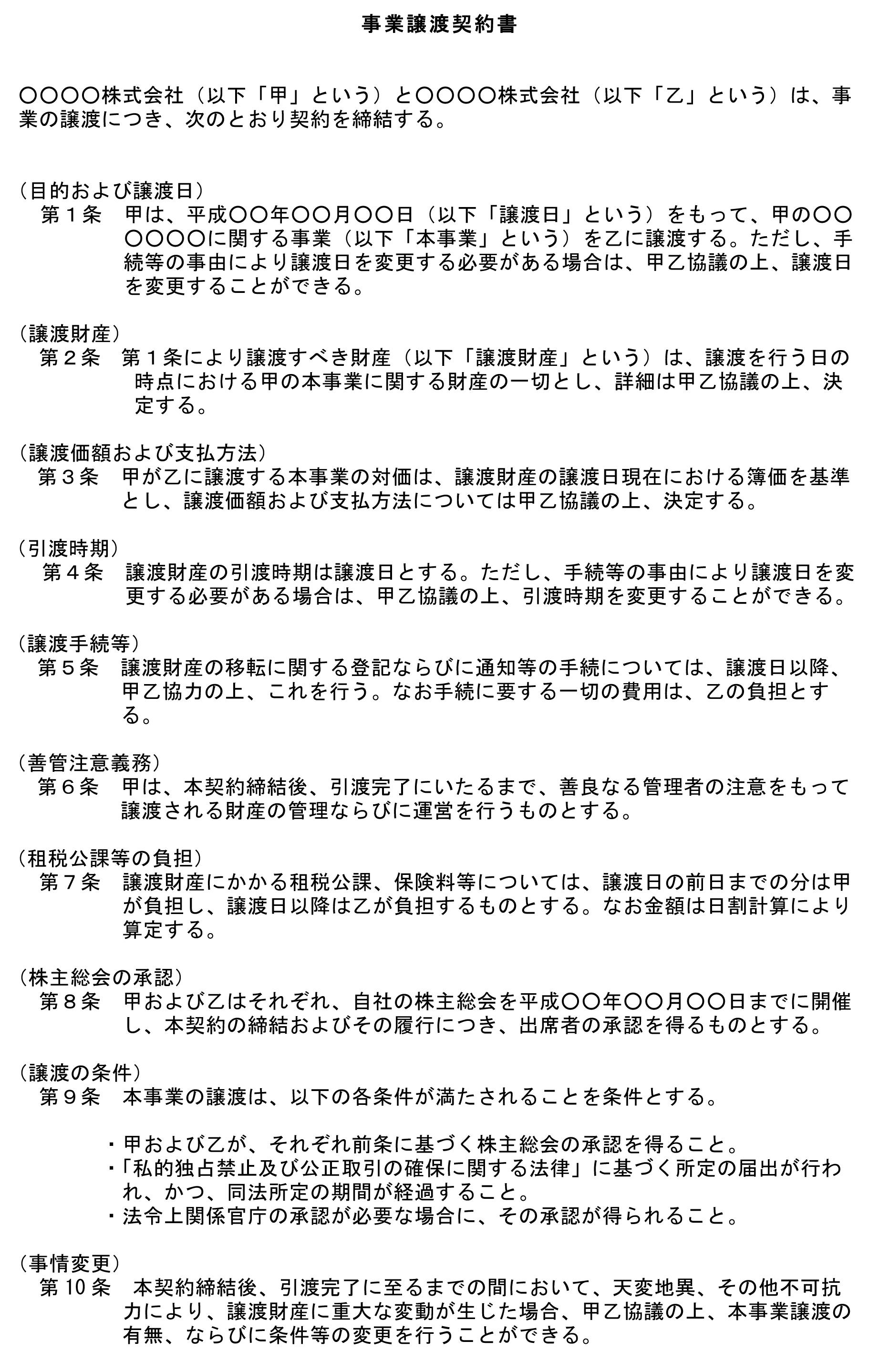 営業譲渡契約書(一部譲渡)