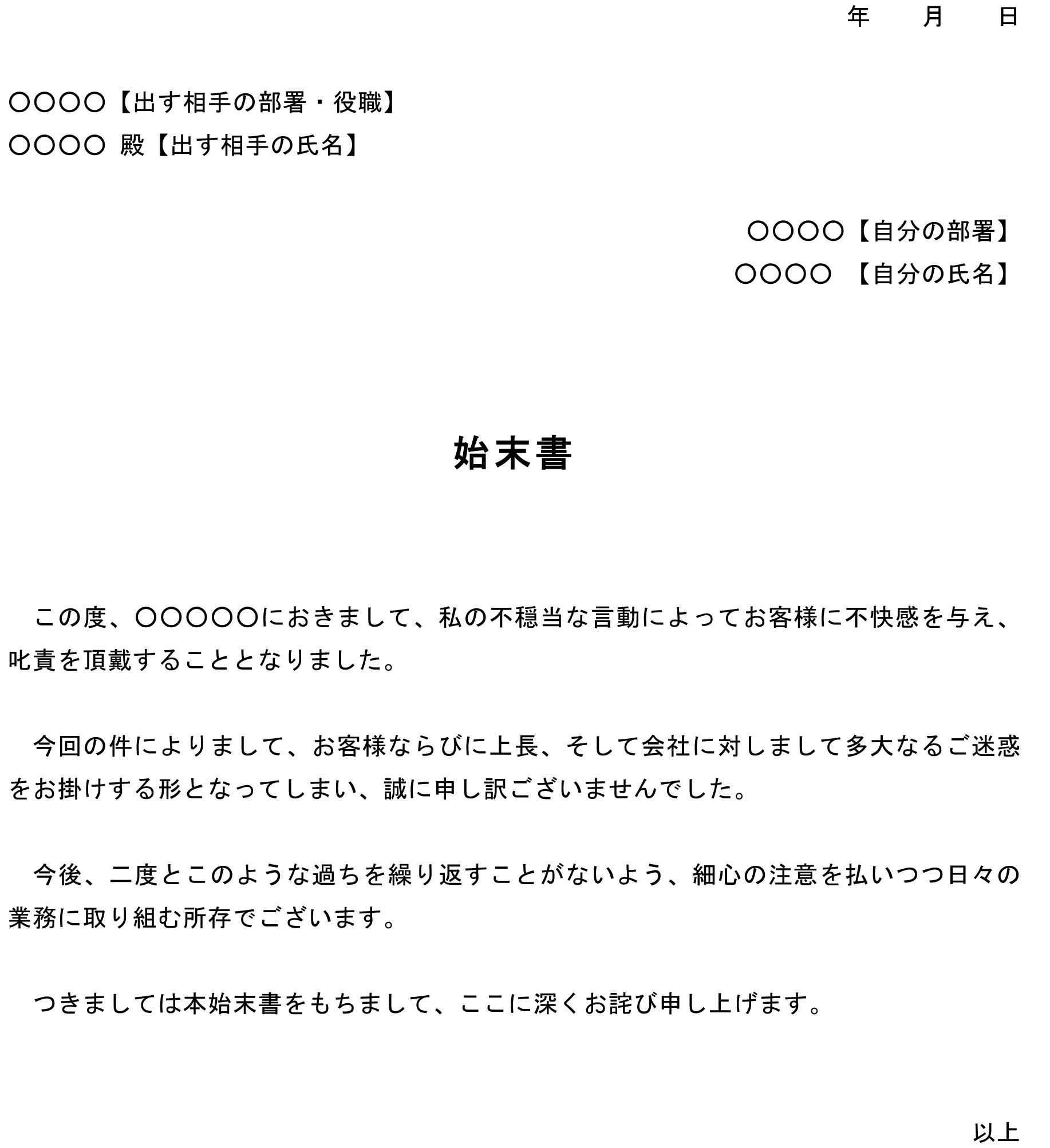 始末書(お客様からのクレーム)03