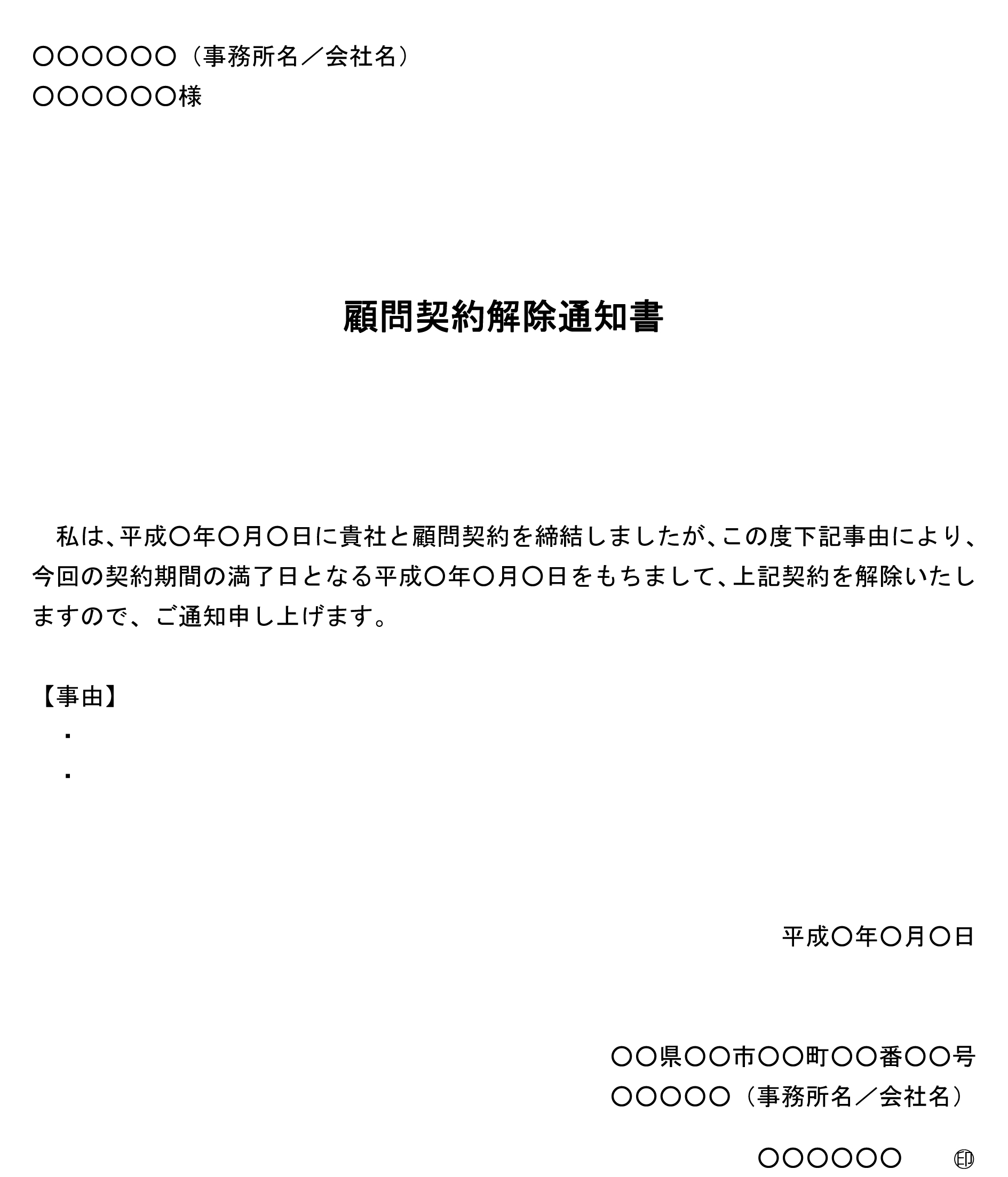 顧問契約解除通知書(期間満了)