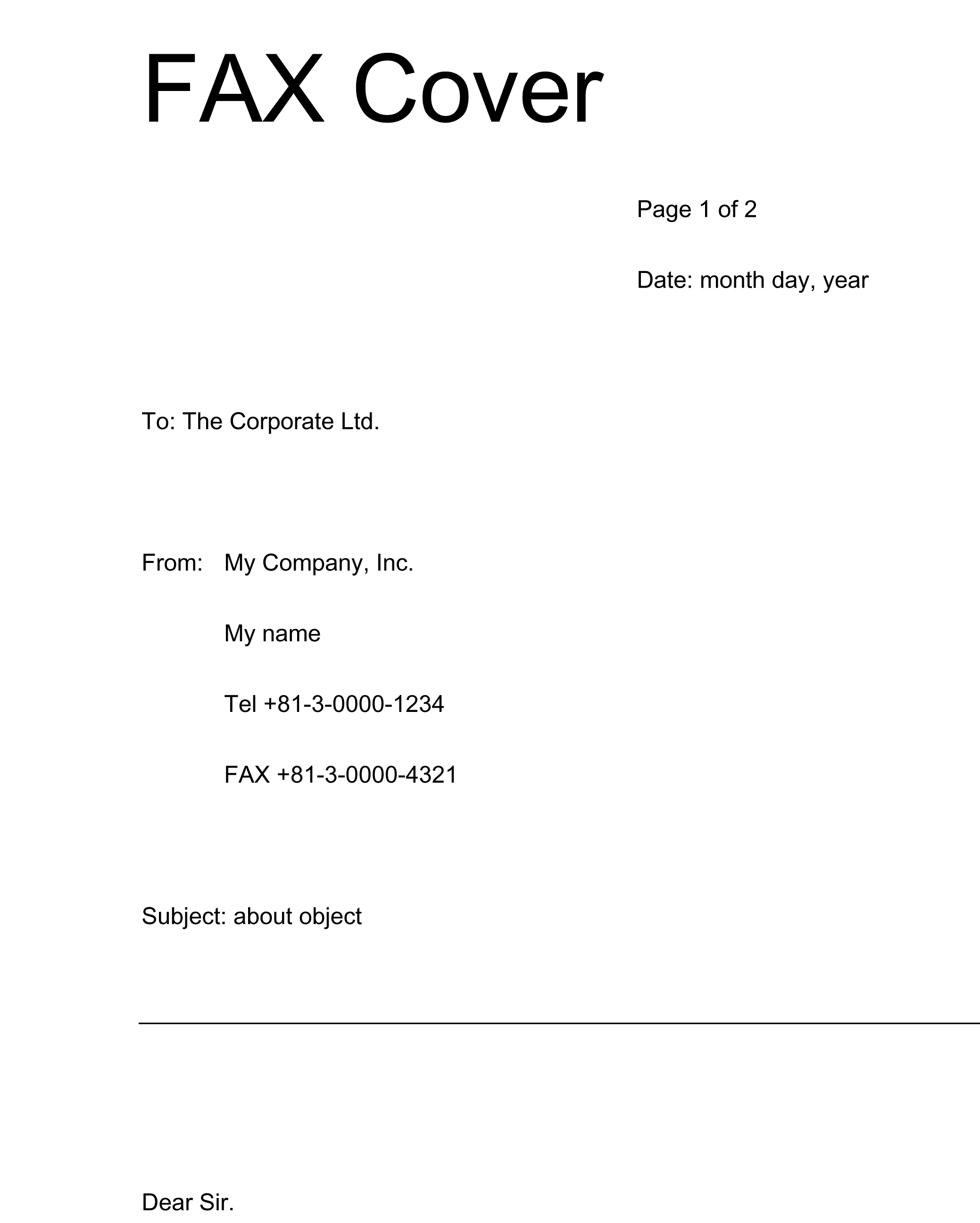 fax送付状 英語版 の書式テンプレート word ワード テンプレート