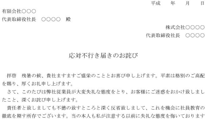 お詫び状(応対不行き届き)