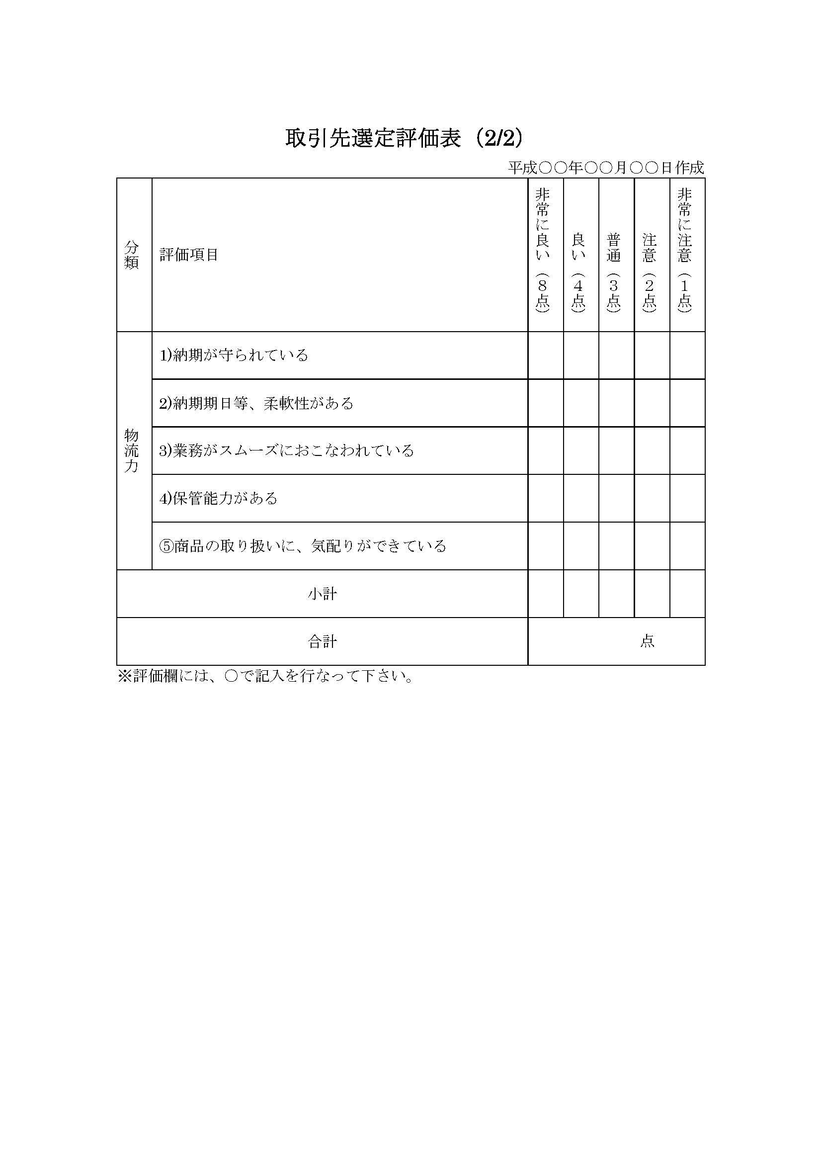 取引先選定評価表