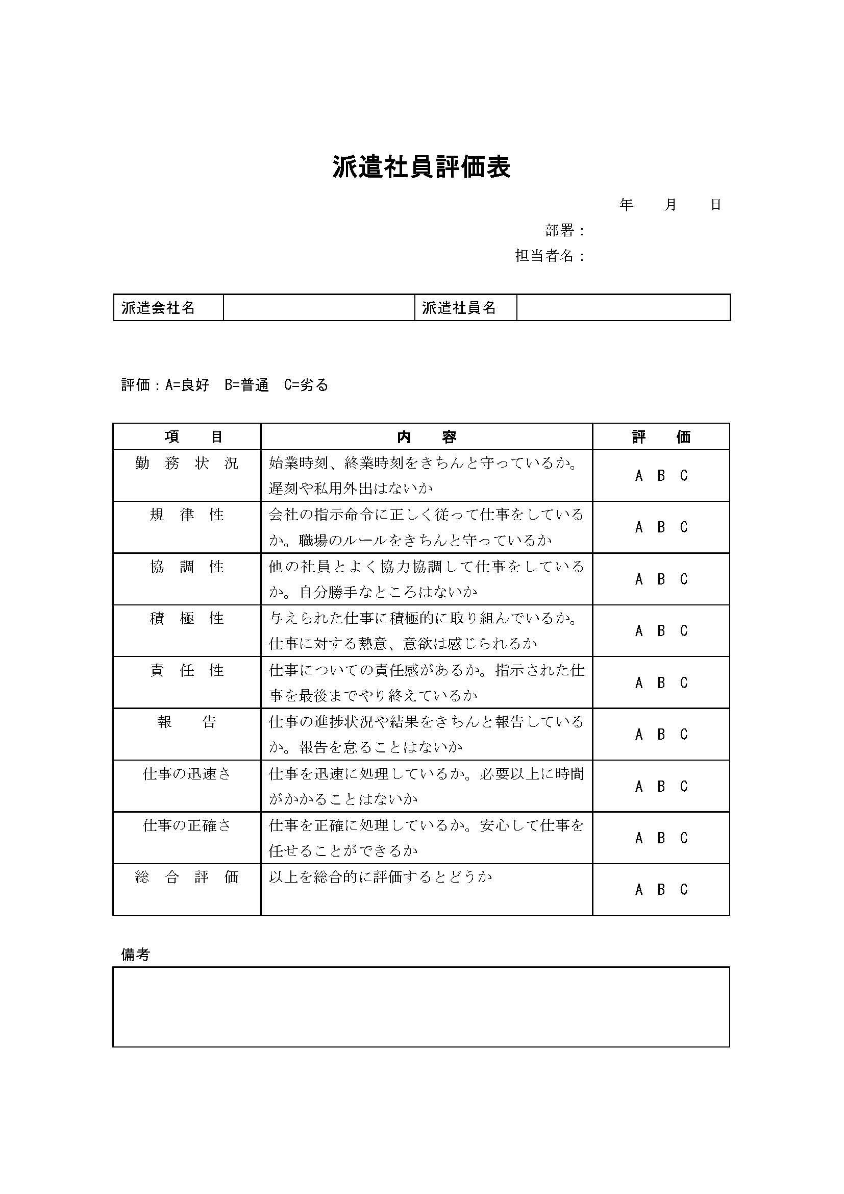 評価表(派遣社員)