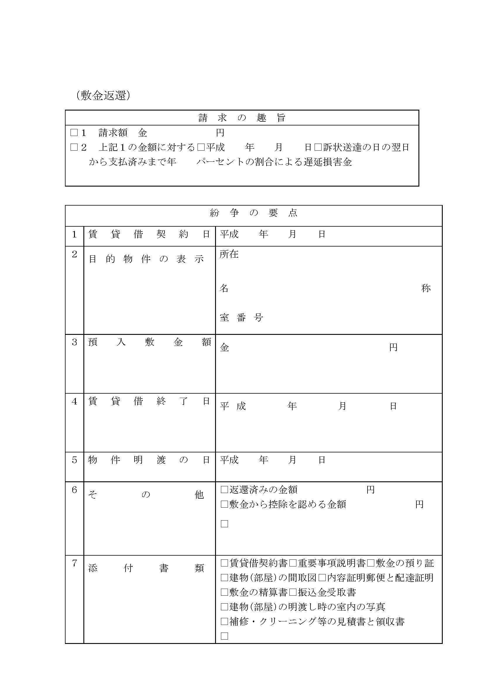 訴状 書式 word