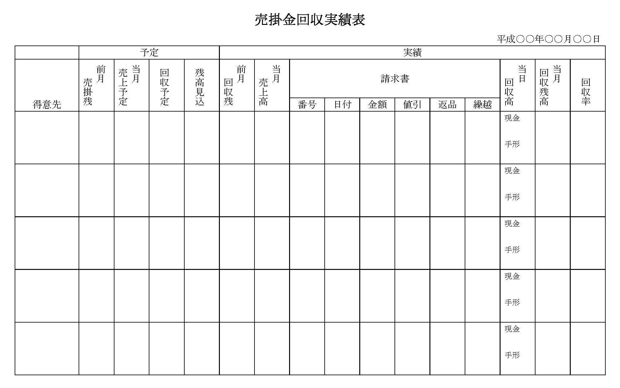 売掛金回収実績表