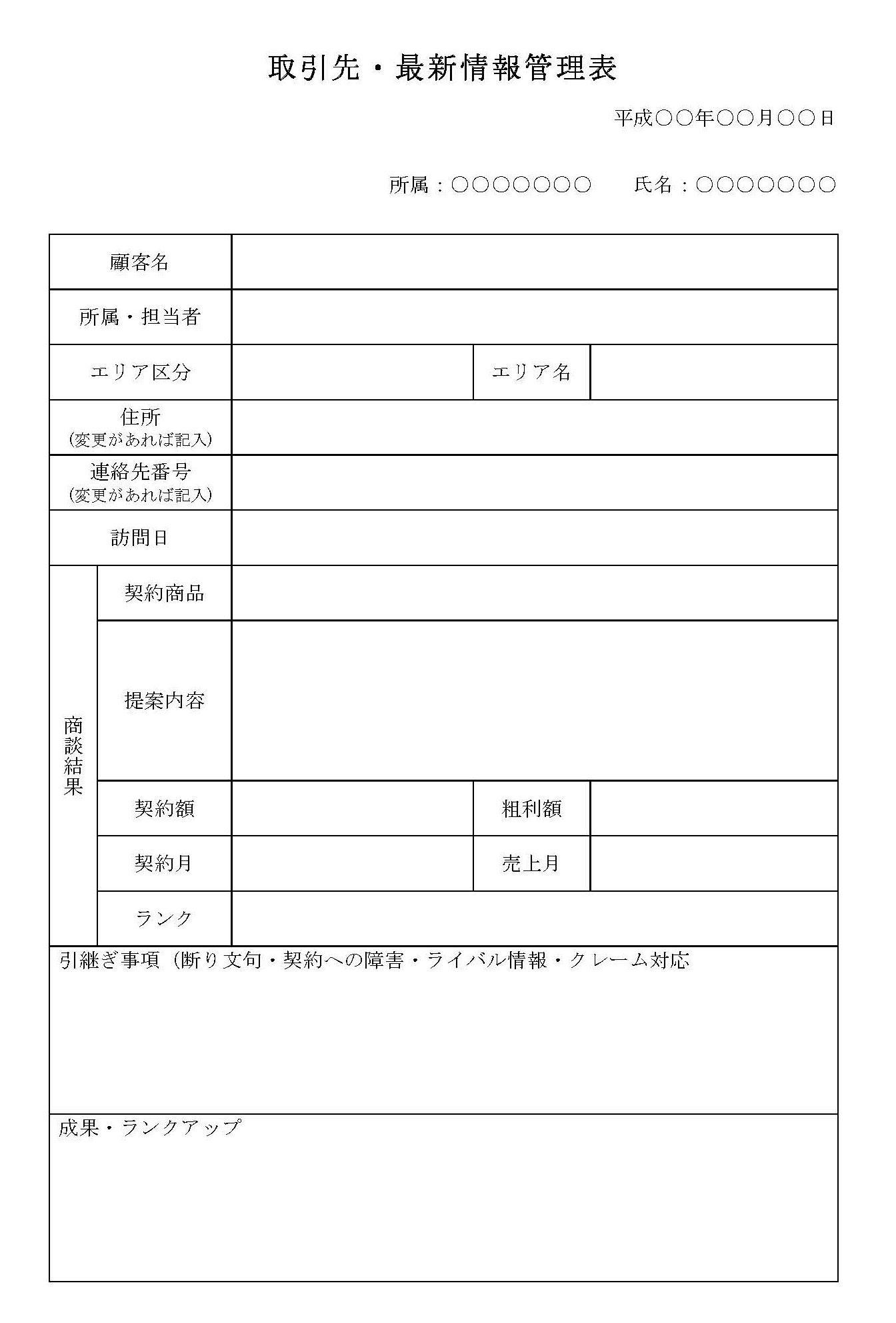取引先・最新情報管理表