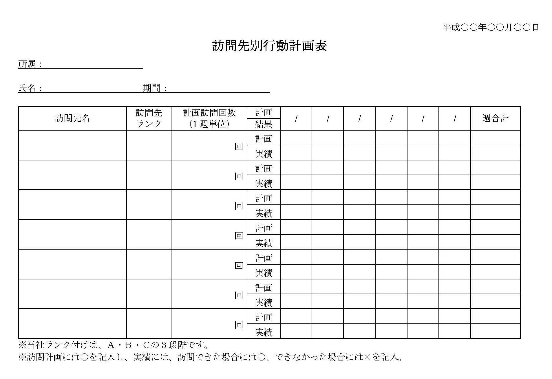 訪問先別行動計画表