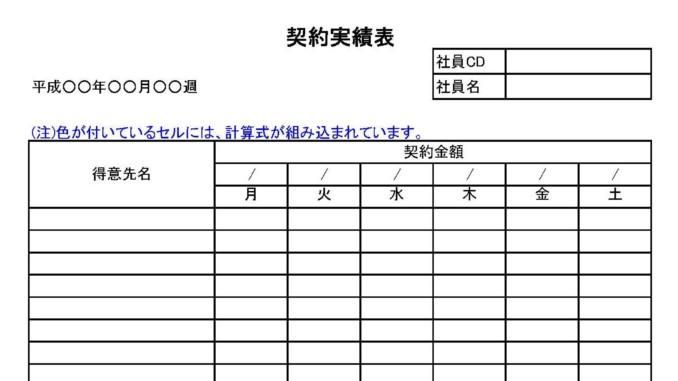 契約実績表