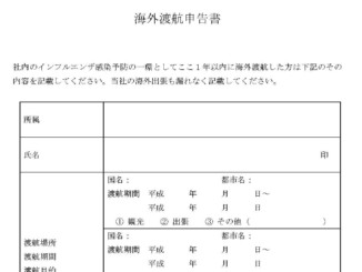 海外渡航申告書