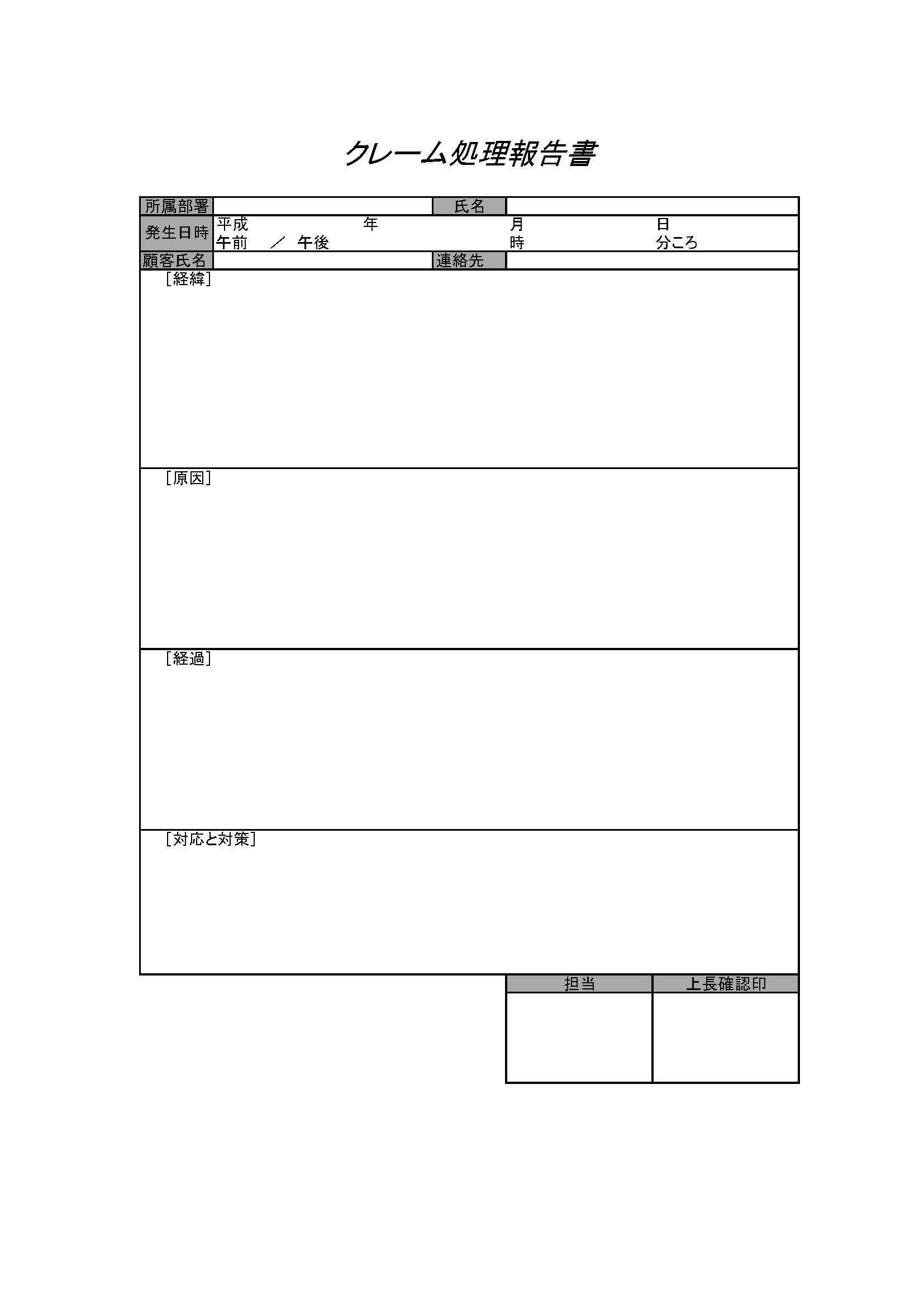 クレーム処理報告書