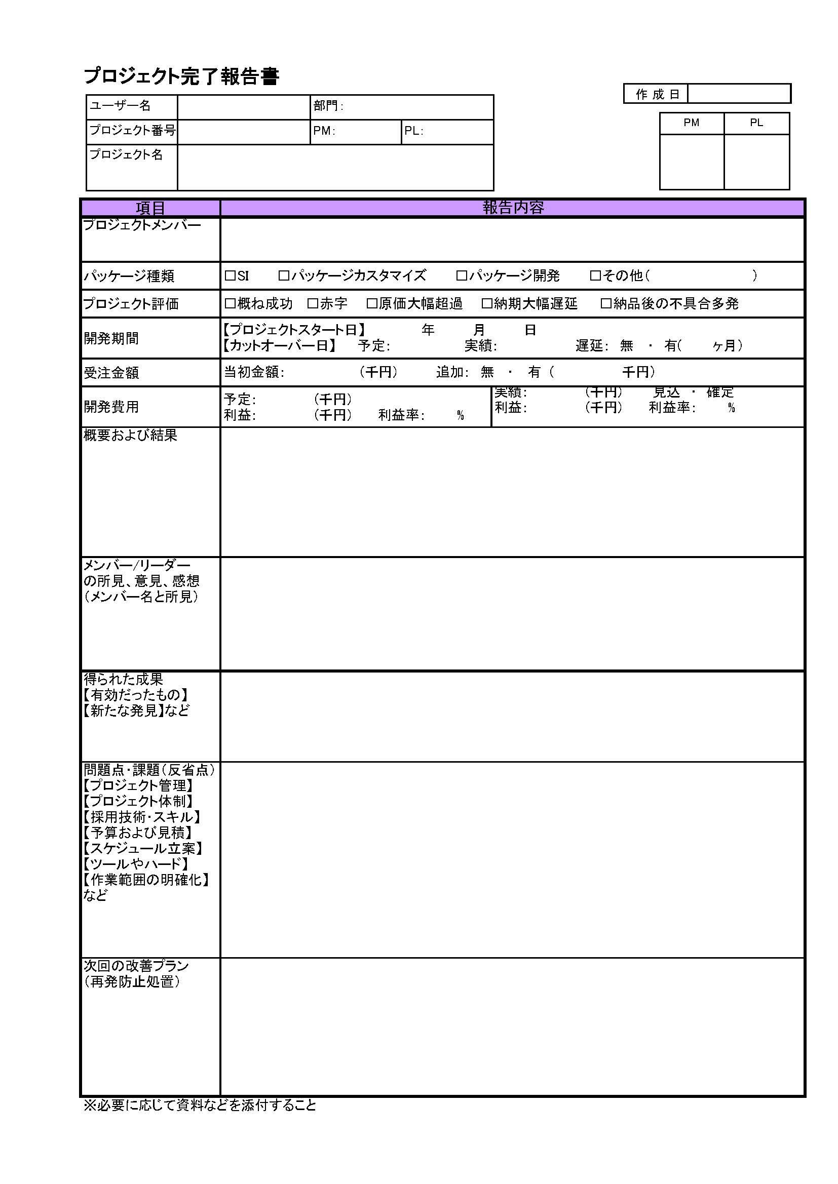 プロジェクト完了報告書