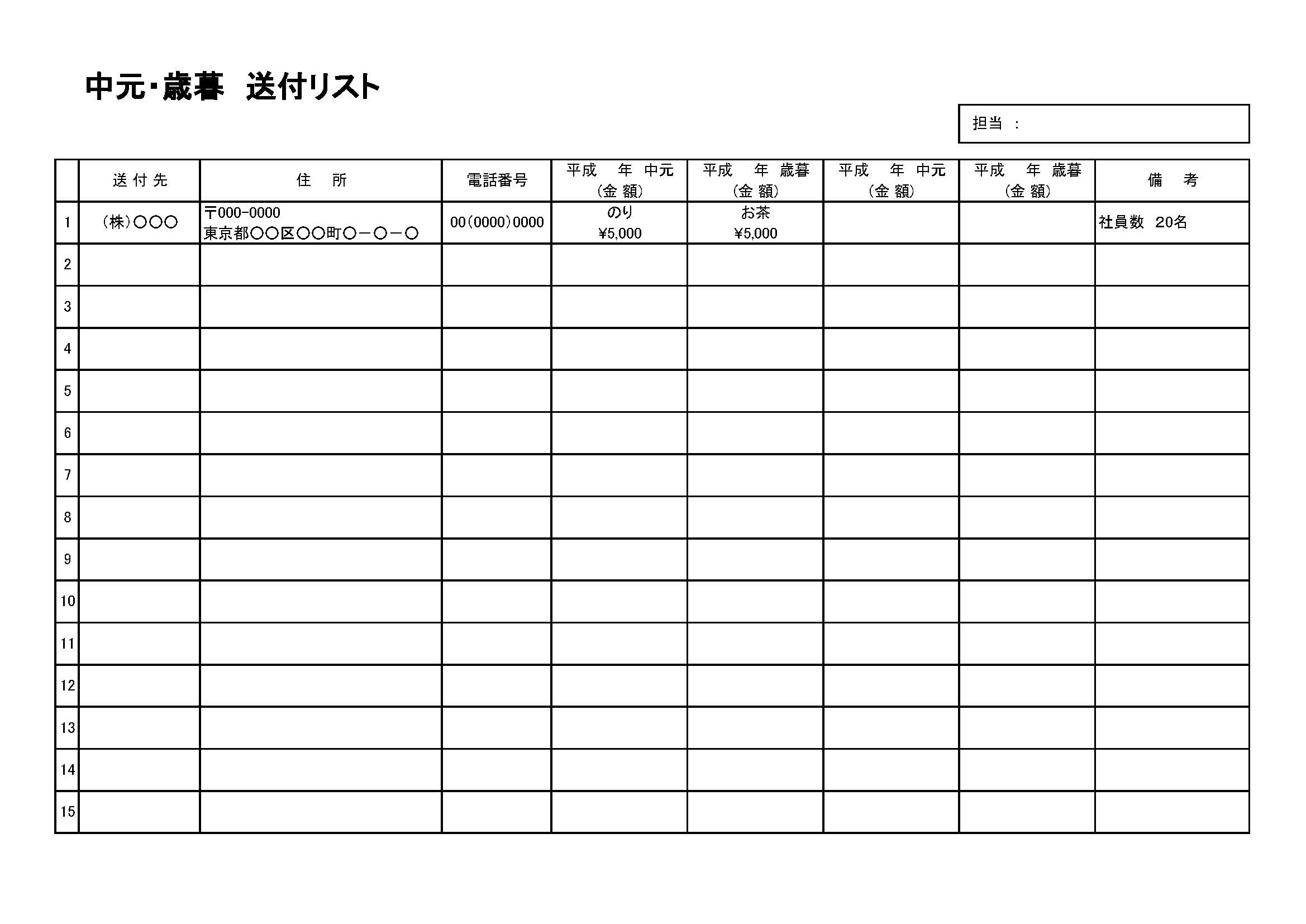 中元・歳暮リスト