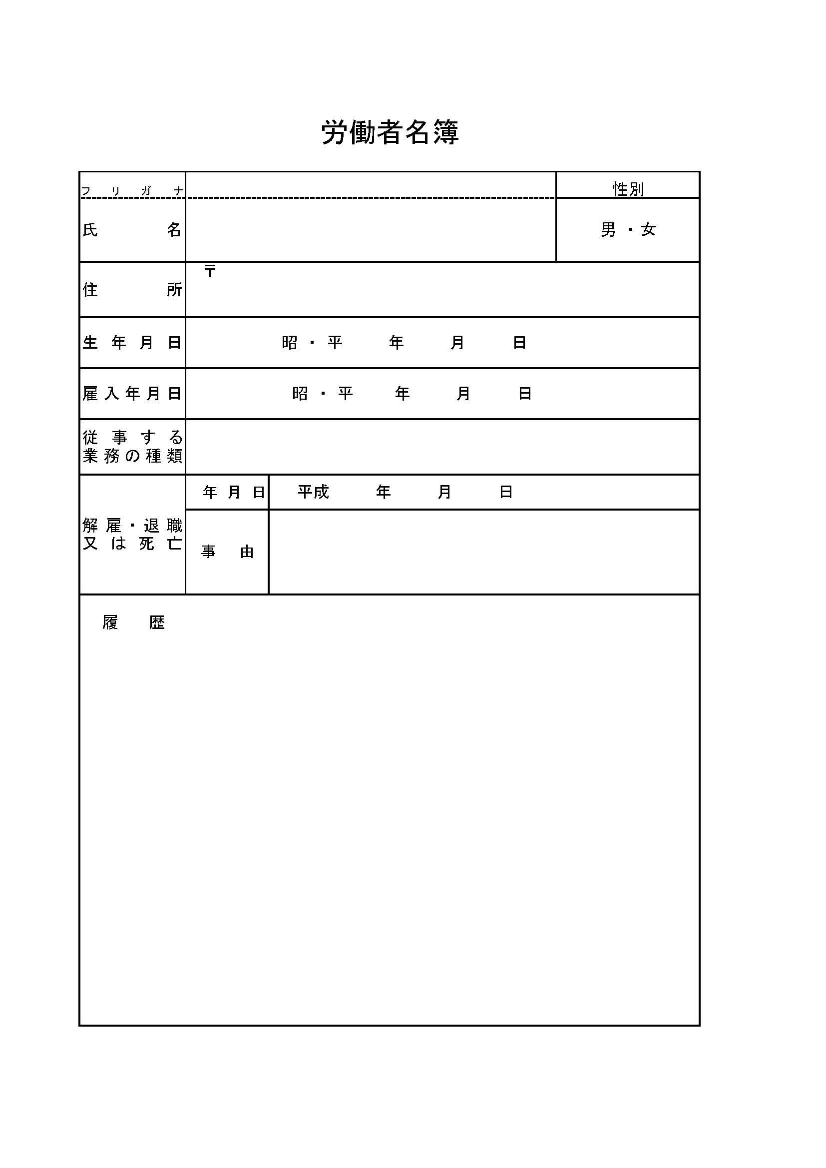 労働者名簿