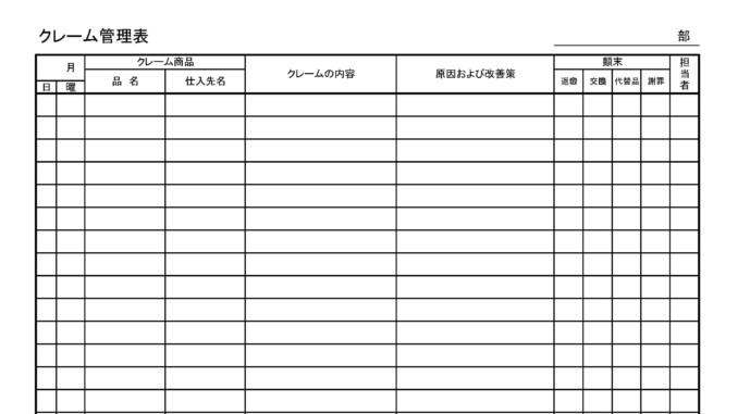 クレーム管理表