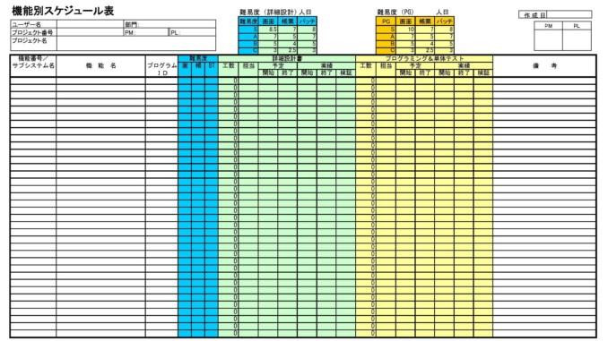 機能別スケジュール表