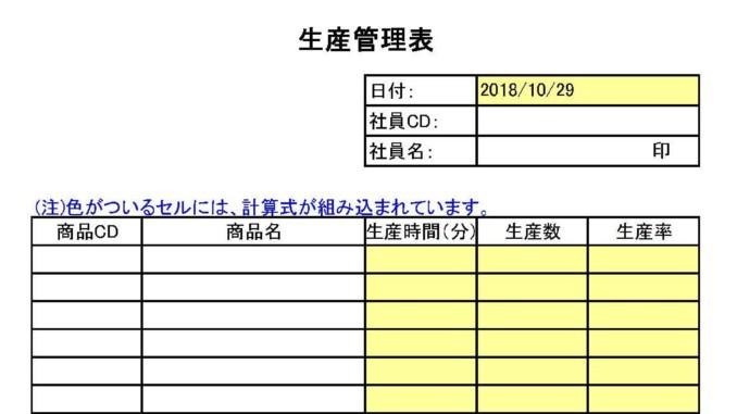 生産管理表