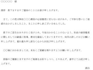 お詫び状のテンプレート書式2