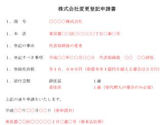登記申請書(代表取締役辞任)