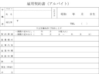 雇用契約書(アルバイト)のテンプレート書式