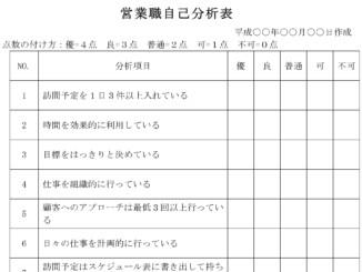 営業職自己分析表のテンプレート書式