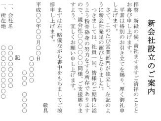 案内状(新会社設立:ハガキ)のテンプレート書式
