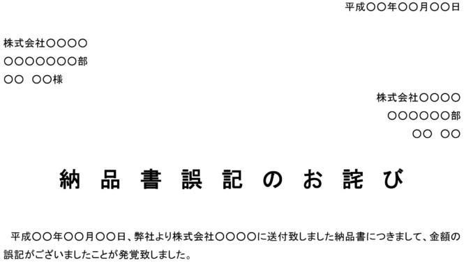 お詫び状(納品書誤記)のテンプレート書式