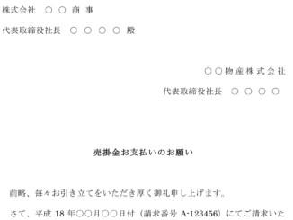 督促状(売掛け金支払い)のテンプレート書式