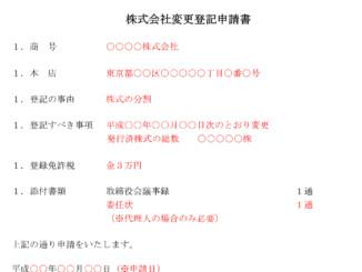 登記申請書(発行可能株式総数の変更(株式分割))