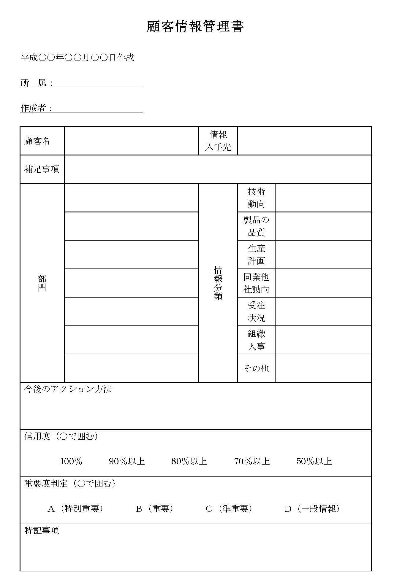 顧客情報管理書