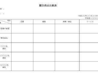 競合商品比較表のテンプレート書式