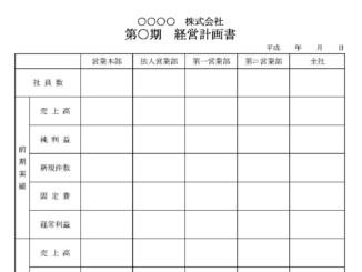 経営計画書のテンプレート書式2