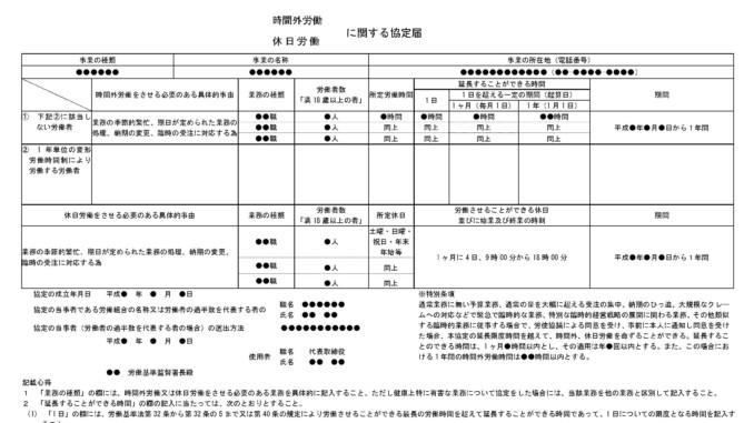 協定届(休日および時間外の労働)のテンプレート書式