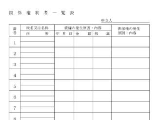 関係権利者一覧表のテンプレート書式