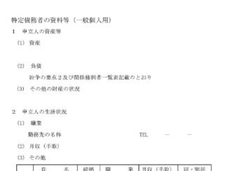 特定債務者の資料等(一般個人用)のテンプレート書式