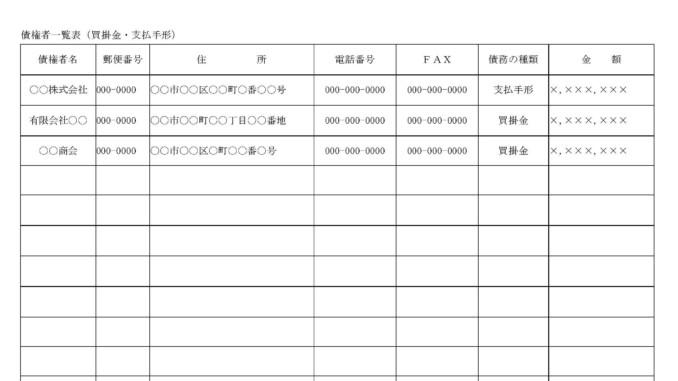 債権者一覧表(買掛金・支払手形)のテンプレート書式