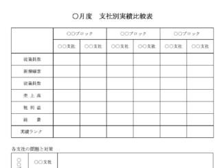 支社別実績比較表のテンプレート書式