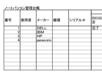 ノートパソコン管理台帳のテンプレート書式