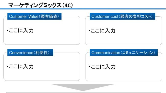 会員登録不要で無料でダウンロードできるマーケティングミックス(4C)のテンプレート書式