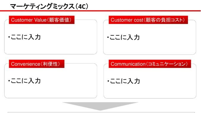 会員登録不要で無料でダウンロードできるマーケティングミックス(4C)02のテンプレート書式