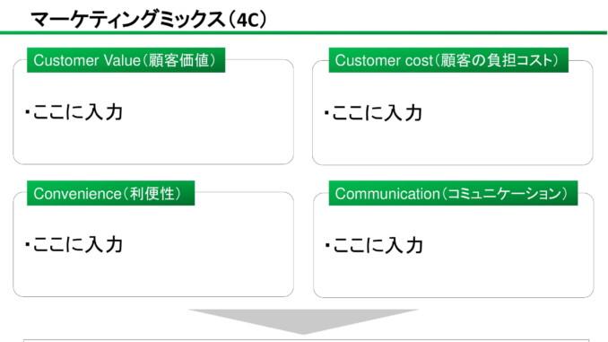 会員登録不要で無料でダウンロードできるマーケティングミックス(4C)03のテンプレート書式