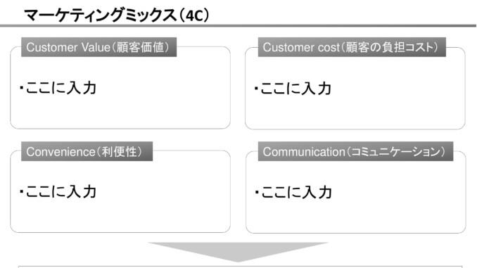 会員登録不要で無料でダウンロードできるマーケティングミックス(4C)05のテンプレート書式