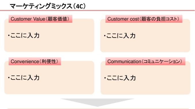 会員登録不要で無料でダウンロードできるマーケティングミックス(4C)06のテンプレート書式