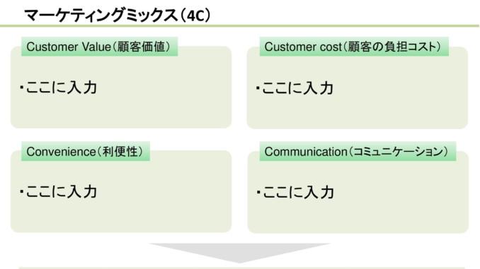 会員登録不要で無料でダウンロードできるマーケティングミックス(4C)07のテンプレート書式
