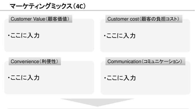 会員登録不要で無料でダウンロードできるマーケティングミックス(4C)08のテンプレート書式