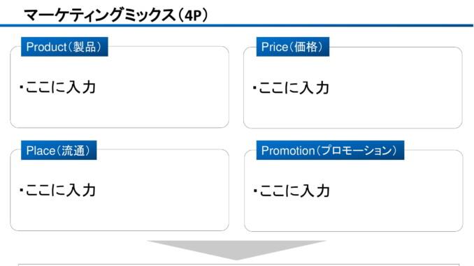 会員登録不要で無料でダウンロードできるマーケティングミックス(4P)のテンプレート書式