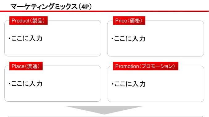 会員登録不要で無料でダウンロードできるマーケティングミックス(4P)02のテンプレート書式