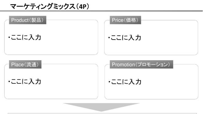 会員登録不要で無料でダウンロードできるマーケティングミックス(4P)04のテンプレート書式